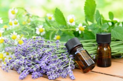essential oils with lavender and herbs